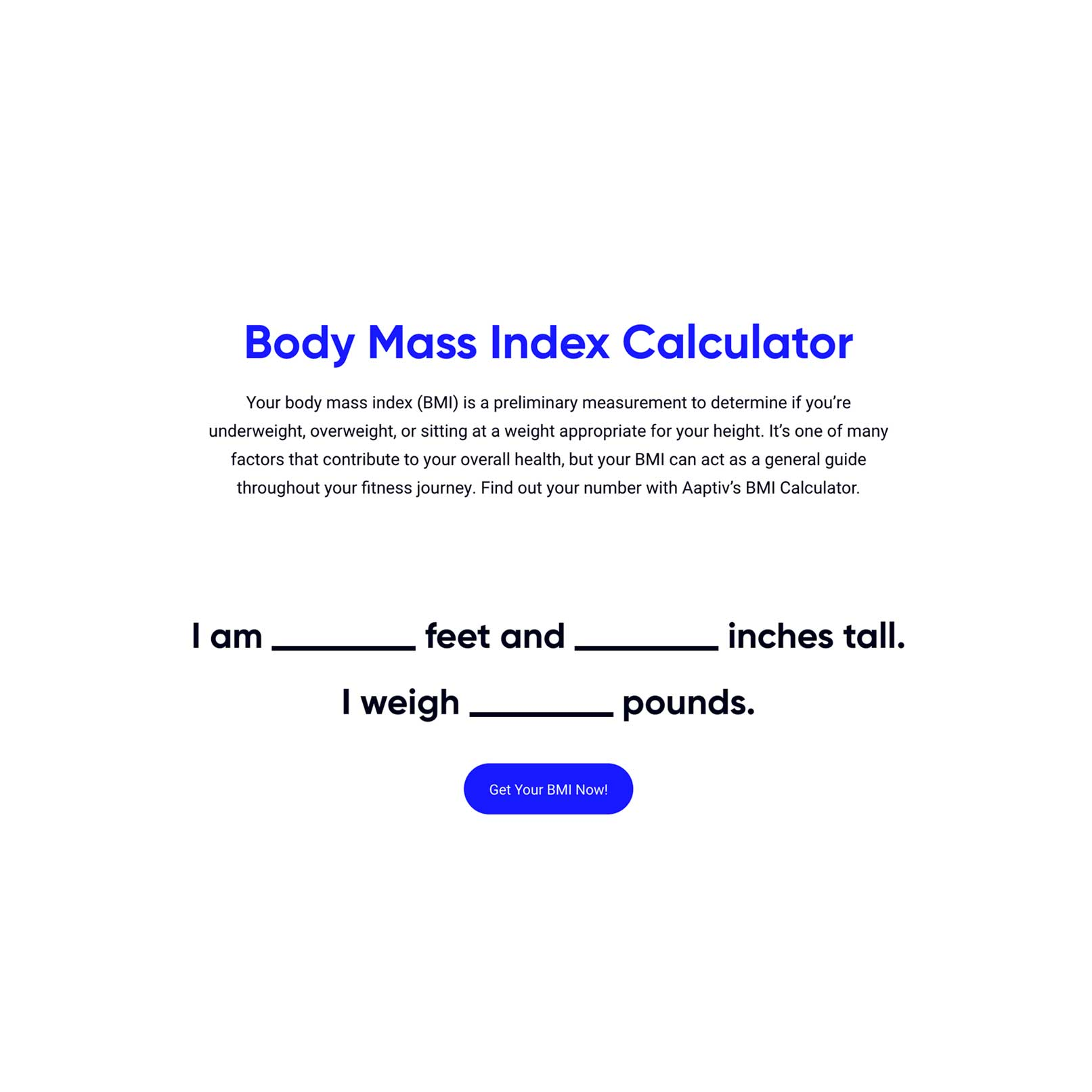 Body Mass Index Calculator